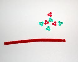 red pipecleaner and tri-beads