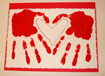 Valentine matted on red paper