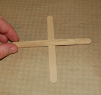 Making a cross with two popsicle sticks