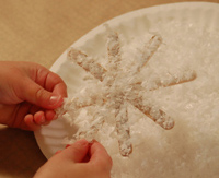 lifting snowflake from the snow