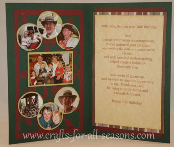 70Th Birthday Verses http://www.crafts-for-all-seasons.com/cricut-70th-birthday-card.html