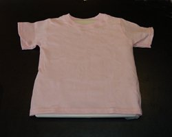 shirt with wax paper underneath it for protection