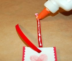adding glue to ribbon
