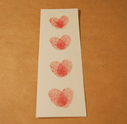 four hearts on bookmark