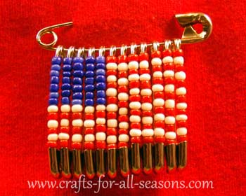photo of American flag beaded safety pin
