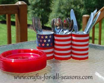 patriotic buffet silverware holder