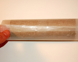 photo of wax paper covering tube