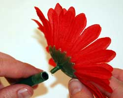 gluing flower head