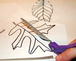 cutting out leaf pattern