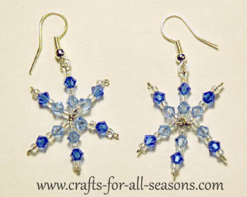 finished snowflake earrings