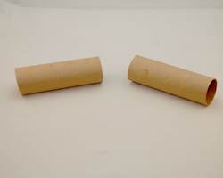 empty paper towel tubes cut in half