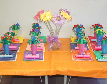 The flower bouquets being presented on my daughter's classroom table