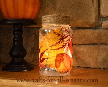 decoupage leaf jar