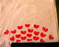 red hearts on shirt