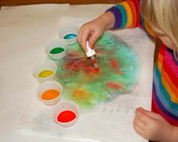 coffee filter painted with colored water