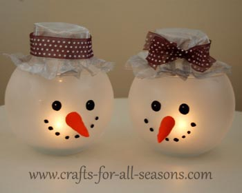 Snowman Candle Holder Craft