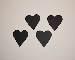 four black hearts