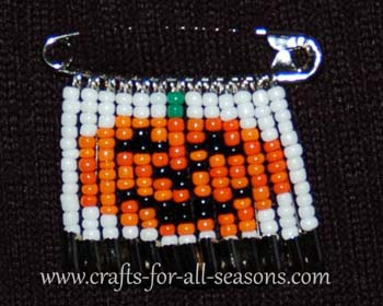 pumpkin beaded safety pin