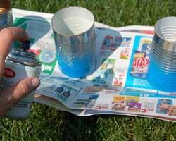 applying blue spray paint