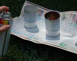 applying white spray paint