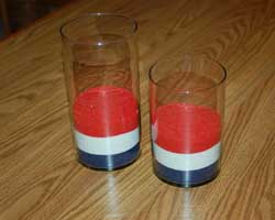 red white and blue sand