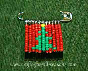 christmas tree beaded safety pin
