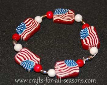American flag polymer clay bracelet