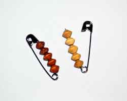 wooden beads on pin