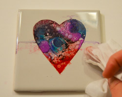 alcohol ink heart craft