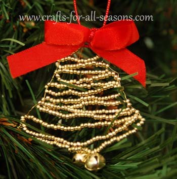 beaded bell ornament
