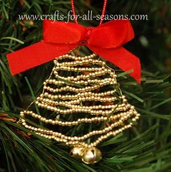 beaded bell ornament