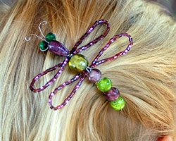 beaded dragonfly barrette