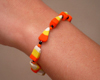 candy corn polymer clay bracelet
