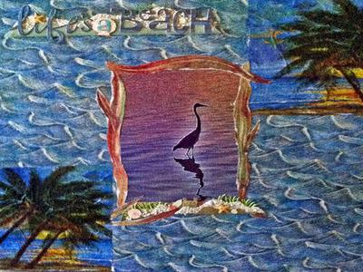 'Life's a Beach' Canvas with Heron Photo