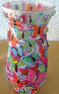 Decoupage Vases And Glass Candle Holder