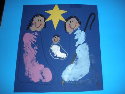 Footprint and Handprint Nativity scene