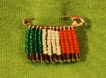 irish flag beaded pin