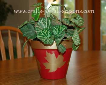 leaf stenciled flower pot