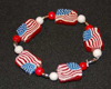 polymer clay American flag bracelet