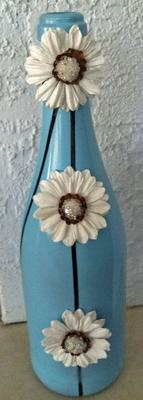 blue and white flower bottle