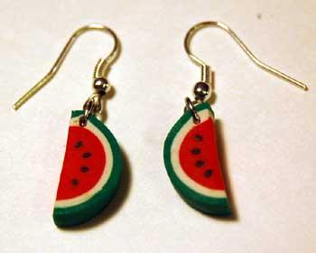 polymer clay watermelon slice earrings