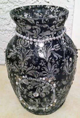 Black and White Glass Vase