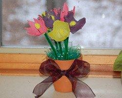 egg carton flower bouquet