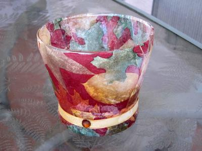 Fall Decorative Glass Candle Vase